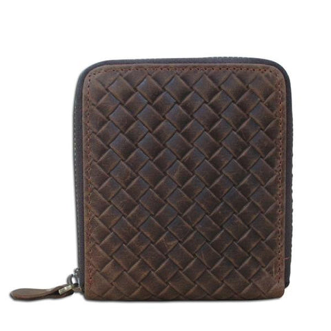 Man's short woven pattern crazy horse leather wallet with zipper
