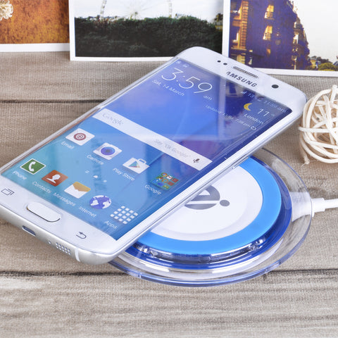 QI wireless charger Q11 round wireless charge base emitter - White Blue