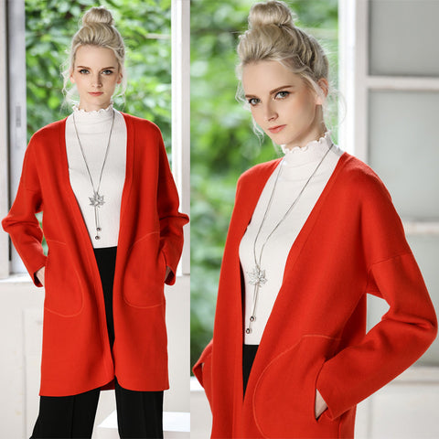 womens red sweater long contracted and the atmosphere in the double coat pocket