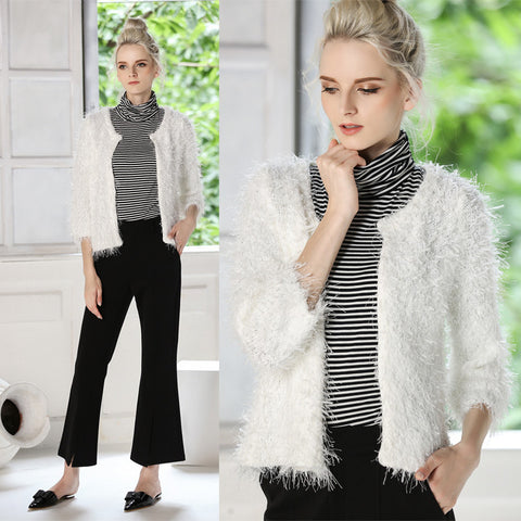 paragraphs autumn/winter dress warm sweater white contracted short thickening cardigan coat