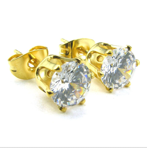 6 per cent of zircon Stainless Steel Gold Earrings