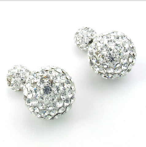 Stainless steel ball full diamond earrings