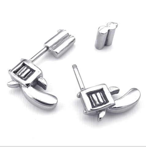 Stainless steel white hand grab ear buckle