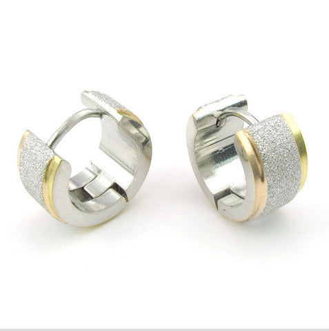 Stainless steel double color sandblasting ear clip
