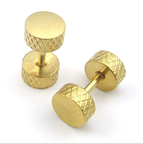 Stainless steel embossed gold earring