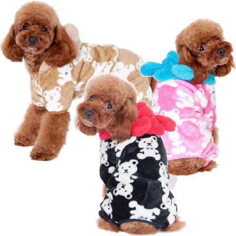 Pet home service Mini BB bear coral velvet pajamas multi color-Color Pink