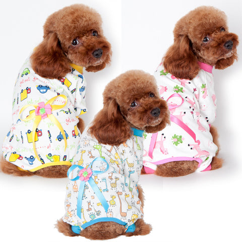 Pet dog clothes wear new clothes Home Furnishing dog pajamas four cotton print Teddy clothes-Color Pink