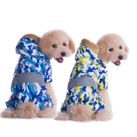Pet dog clothes clothing private military clothing export camouflage pet clothing four pay New Year's call-Color Blue