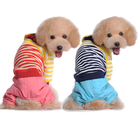 Pet pet clothing clothing cotton thickened fresh Campus-Color Blue