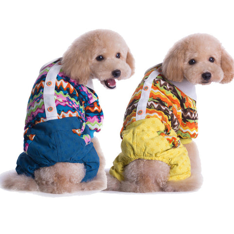 Thickened pet clothes pet clothes high quality autumn and winter models-Color Blue