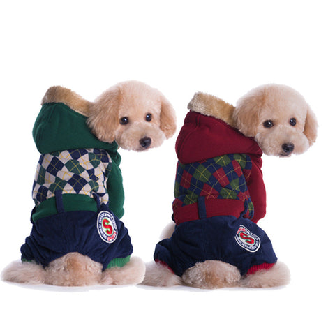 Tactic Chaofu selling pet dog clothes in winter clothes four legs thick dog clothes-Color Green