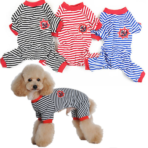 Pet clothing pet home service pet Striped Pajamas 4 color-Color Blue