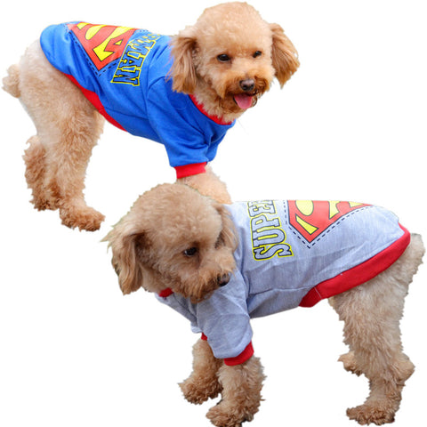 New summer clothes Superman pet dog clothes 2 color print sweater-Color Blue