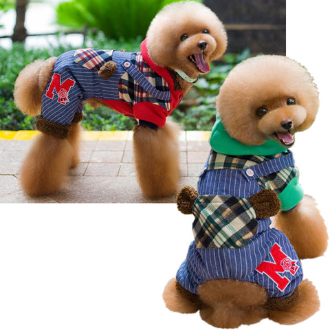 Pet dog dog clothes cotton clothing pet clothes color clothing bread thickened thickened waterproof English on raccoon-Color Red