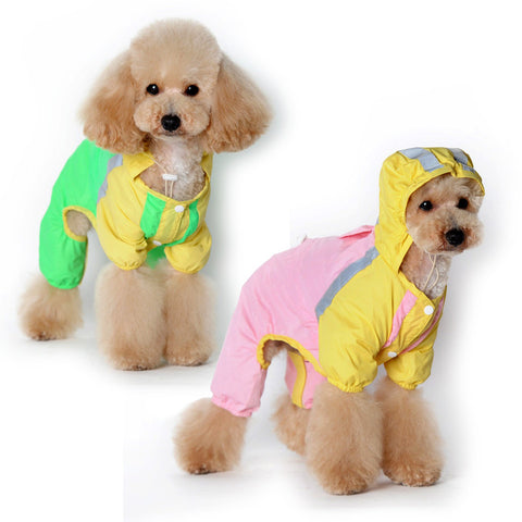 New pet raincoat The dog dog raincoat clothing 4 legs raincoat-Color PinkYellow