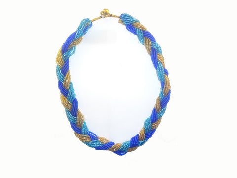 Braided Glass Beads Necklace - Multiple Color Nepal