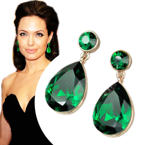 Angelina Jolie Inspired Gold Plated Emerald Crystal Drop Earrings