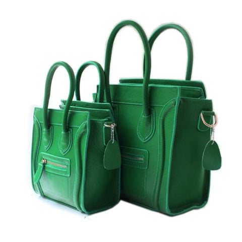 Green Leather Square Luggage Tote Bag-Small
