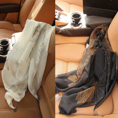Feather Print Silk Scarf-Color Black