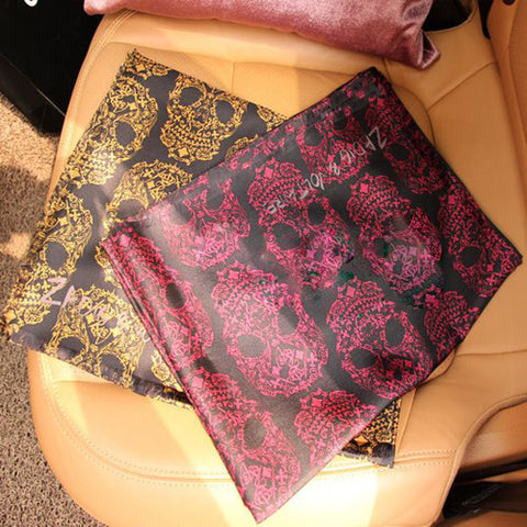 Skull Patterned Silk Scarf -Color Red