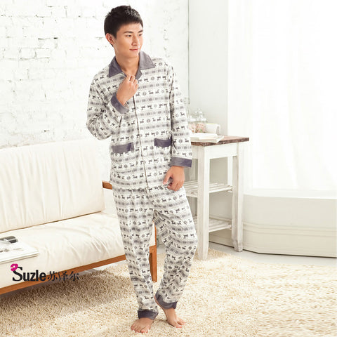 Suzle Deer Animal Print Cotton Pajama (Men)