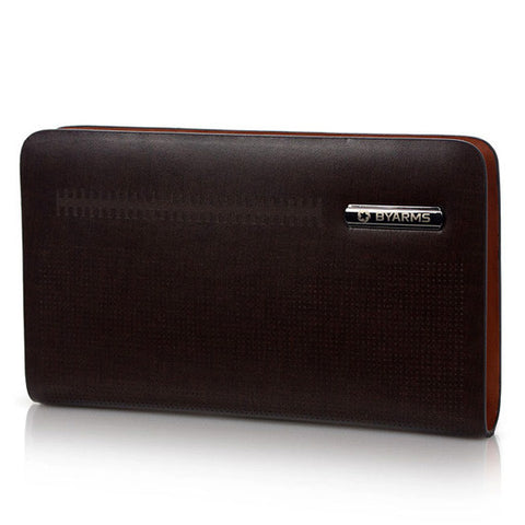 Byarms Men's Leather Clutch Bag Fashion & Style-COLOR Dark Brown