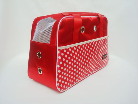 RED Polka Dot Pet Carrying Shoulder Bag for Traveling with Dogs Calico Fabric