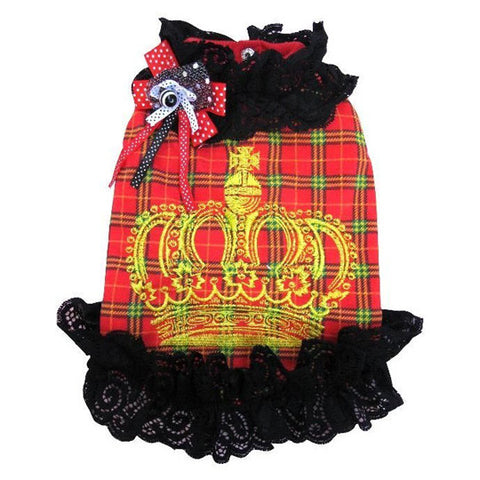 Red Plaid Pattern Crown Hair Coat for Dogs