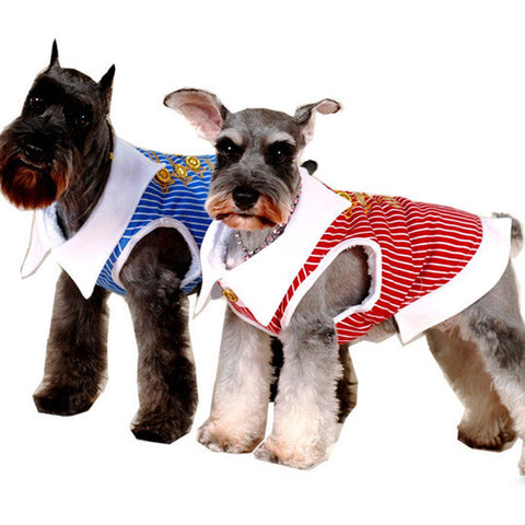 Pet Dog Clothing & Apparel Striped Collar Dress Shirt