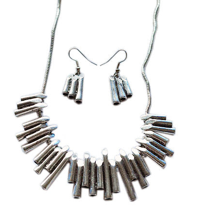 Hmong Styled Musical Organ Note Necklace Set Earrings