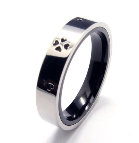 Heart of the Playing Cards Silver Titanium Black Ring