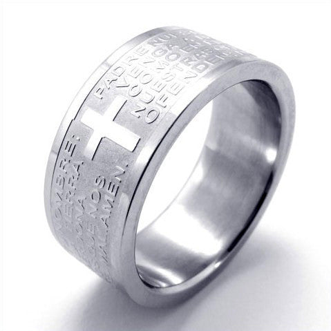 Wide Titanium Bible Scripture Cross Pattern Steel Ring-Size 7