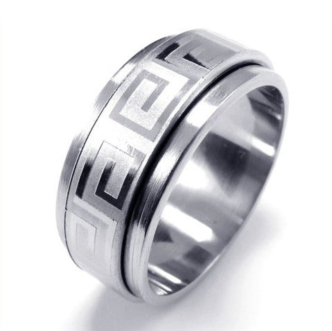 Men's Great Wall of China Inspired Design Titanium Silver Ring-Size 8