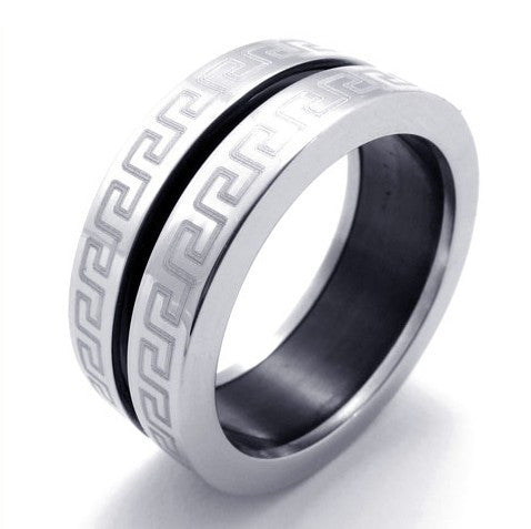 Men's Great Chinese Inspired Design Titanium Steel Ring Silver-Size 7