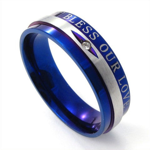 Blue Colored Titanium Steel Ring for Men's Fashion & Style