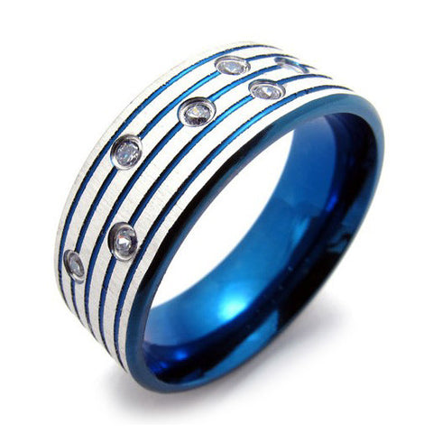 Blueish Colored Titanium Steel Ring for Men's Style