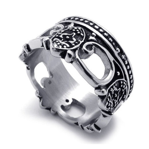 Titanium Steel Royalty Styled Ring for Men's Fashion-Size 9