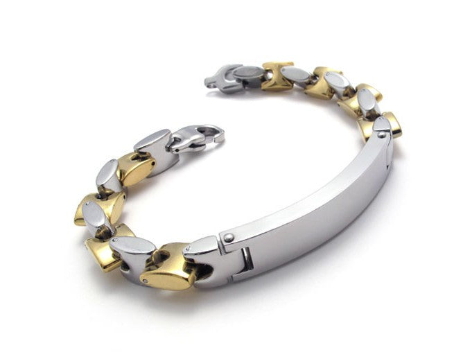Gold & Silver Colored Titanium Steel Bracelet Accessory for Men