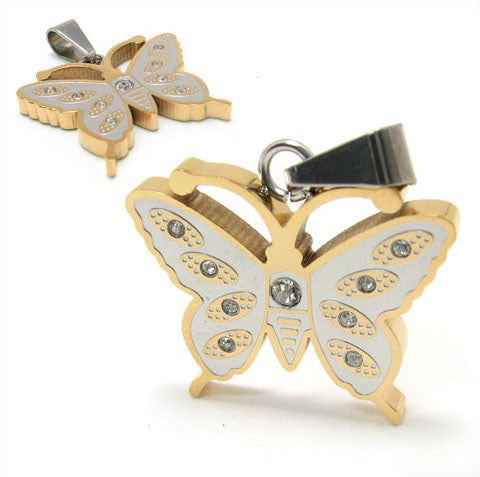 Titanium Steel Golden Silver Butterfly Necklace Pendant for Woman