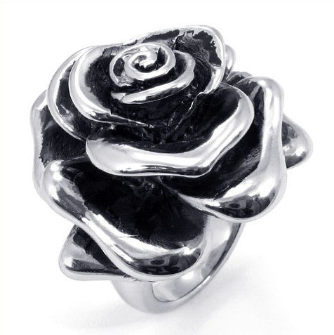 Sweet Rose Design Carved Titanium Steel Silver Ring-Size 6