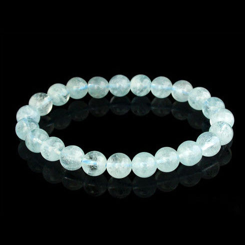 Natural Crystal Aquamarine Beaded Bracelet for Girls