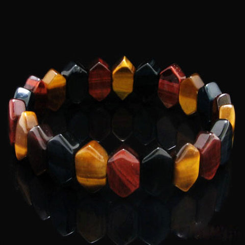 Colorful Tiger Eye Natural Hand Rowed Bracelet Crystal