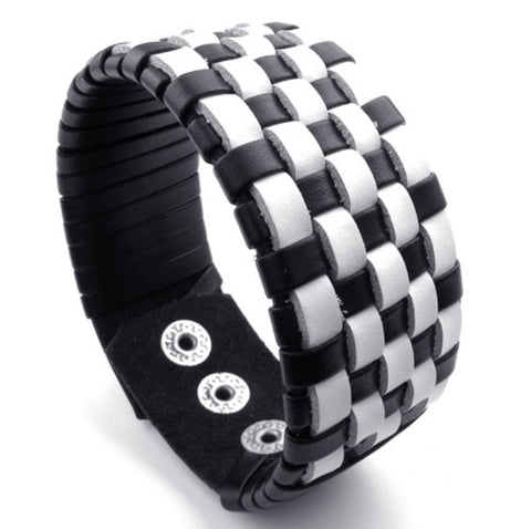 Weaved Black and White Leather Bracelet