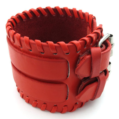 Weaved Red Leather Bracelet