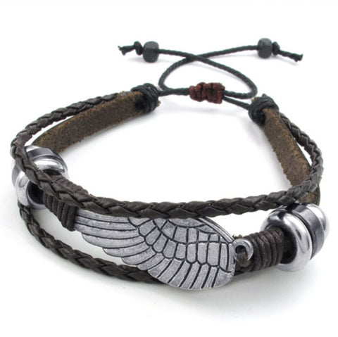 Black Leather Wrap Bracelet