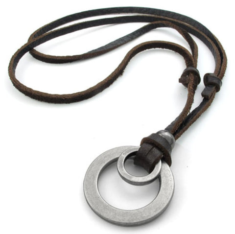 Alloy Circle Pendants Leather Necklace