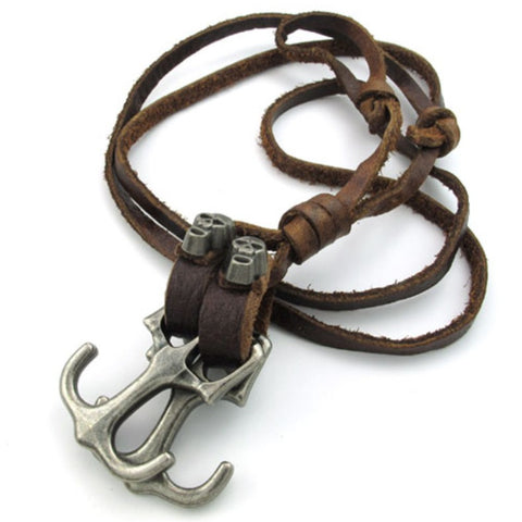 Alloy Skull and Anchors Pendant Leather Necklace