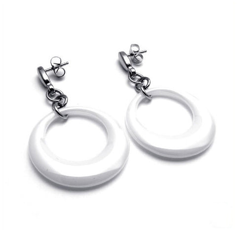 White Concentric Circles Dangly Earrings