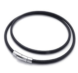 Black Leather Cord (Necklace or Bracelet)-Length 62cm