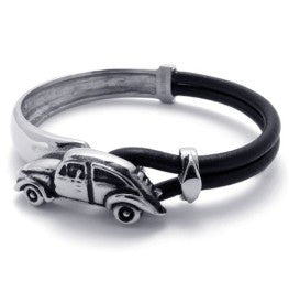 Leather and Stainless Steel Car Bracelet